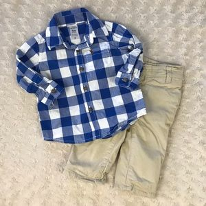 Baby Boy Dressy Outfit Gingham Plaid Shirt Pants